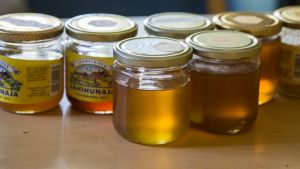 Erilaisia hunajapurkkeja pöydällä.