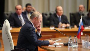 Venäjän presidentti Vladimir Putin BRICS-kokouksessa Johannesburgissa, Etelä-Afrikassa torstaina.