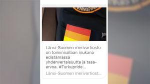 Länsi-Suomen merivartioston julkaisema kuva hihamerkistä
