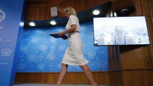 Marija Zaharova saapuu pitämään tilaisuutta Moskovassa.