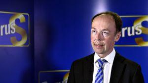 Perussuomalaisten puheenjohtaja Jussi Halla-aho Perussuomalaisten mediatilaisuudessa maanantaina 13. elokuuta.