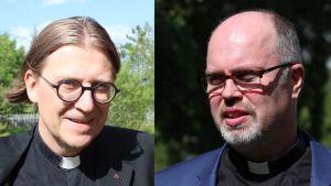 Hävinneet piispanvaaliehdokkaat Jukka Hautala ja Niilo Pesonen henkilökuvissa