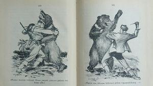 Mies ja karhu painivat kuvassa, joka on osa Karhun kosto -teoksen kuvitusta. Kirjan on kuvittanut Eric Vasström.