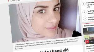 Farah Alhajen uutinen ruotsin radion uutissivulla.