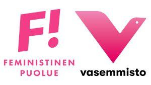 Feministipuolueen ja Vasemmistoliiton logot.