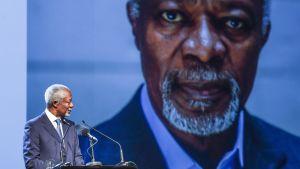 Kofi Annan puhui eettisestä johtajuudesta ja poliittisesta rohkeudesta CMI:n ja Elders-ryhmän seminaarissa Helsingissä vuonna 2017.