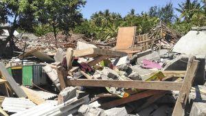 Maanjäristyksen tuhoja Indonesian Lombokissa elokuun 20. päivä 2018.