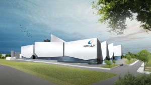 Havainnekuva Wärtsilän Vaasan Vaskiluotoon rakennettavasta Smart Technology Hub -tutkimus-, tuotekehitys- ja tuotantokeskuksesta.