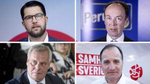 Vasemmalta ylh. Jimmie Åkesson, Jussi Halla-Aho, Antti Rinne, Stefan Löfven