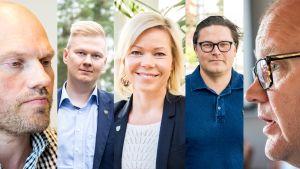 Kainuun nuoret johtajat Juha Huotari, Erno Heikkinen, Tytti Määttä, Paavo Haataja ja Mikko Soininen.