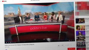 BBC2:n Politics Live -ohjelma YouTube -videopalvelussa.