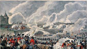 Piirustus Waterloon taistelusta.