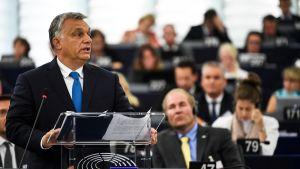 Viktor Orban puhuu Euroopan parlamentissa 11. syyskuuta.