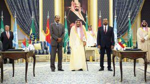 Etiopian pääministeri Abiy Ahmed ja Eritrean presidentti Isaias Afwerki ja Saudi-Arabian kuningas Salman bin Abdulaziz.