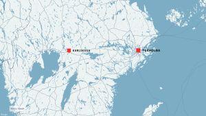Kartta, johon on merkitty Karlskoga ja Tukholma.