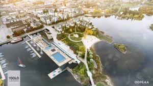 Oulun torinrantaa suunniteltu merikylpylä.