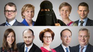 Puoluejohtajat koottuna kuvaan burkhaan pukeutuneen naisen kanssa.