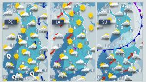 Perjantain, lauantain ja sunnuntain sääkartat