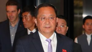 Pohjois-Korean ulkoministeri Ri Yong-ho puhui lauantaina YK:n yleiskokouksessa New Yorkissa.