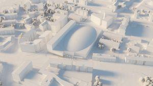 Havainnekuva tulevasta keskustavaihtoehdosta Lappeenrannan monitoimihallille