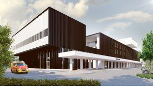 Ratamo-sairaalakeskus havainnekuvassa.