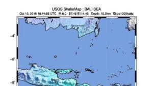 USGS:n karttakuva Indonesian maanjäristyksestä.