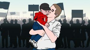 Kuvitus ehdokaasta suutelemassa taaperon poskea vaalitilaisuudessa.