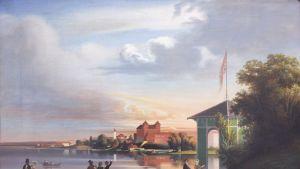 Vanhassa maisemataulussa ihmisiä ja Hämeen keskiaikainen linna