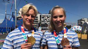 Topias Laine ja Jessica Kähärä.