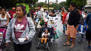 Hondurasilaisia siirtolaisia Guatemalan kaupungissa 18. lokakuuta.