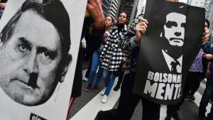 Naiset osoittivat mieltään Jair Bolsonaroa vastaan Sao Paulossa, Brasiliassa 6. lokakuuta.