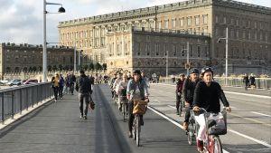 Pyöräilyä Tukholman keskustassa
