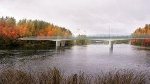 Havainnekuva Haapakosken uudesta sillasta Vaajavirran itärannalta kuvattuna. Taustalla nykyinen silta.