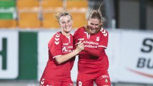 Emilie Henriksen (oik.) ja Kamilla Karlsen (vas.), Women Champions League soccer match