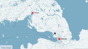 Kartta, johon on merkitty Pietari, Viipuri, sekä bussiturman paikka Pietarin pohjoispuolella.