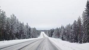 Talvinen tie Kannonkoskella