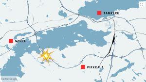 Onnettomuuspaikka kartalla