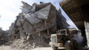 Jarmukin pakolaisleiriä tuhottiin Damaskoksessa 9. lokakuuta.