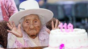 Lierihattupäinen nainen katsoo kädet koholla kakkua, jonka päällä on numerokynttilät 118.