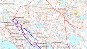 Kartta grafiitin etsintään haettavasta alueesta Tuusniemellä.