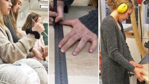 Kolmen kuvan kollaasi, jossa yhdessä tytöt neulovat villasukkaa, toisessa kuvassa kädet ja mittaviivotin, kolmannessa kuvassa tyttö sahaa puulevyä