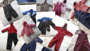 Vaatteita nettikirpputorien myynti-ilmoituksista.