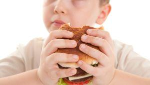 lapsi syö hampurilaista