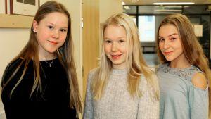 Oppilaat Emilia Erholtz, Etta Kuusinen ja Peppi Vallenius