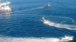 Ukrainan laivaston veneitä menossa kohti Kertšinsalmea 25. marraskuuta.