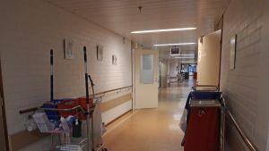 Tunkkari terveyskeskuksen yleislääketieteen osaston käytävä.