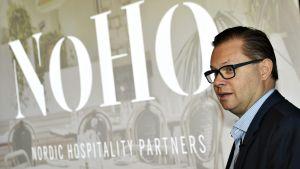 Entisen Restamaxin toimitusjohtaja Aku Vikström kertoi yrityksen uudesta nimestä tiedotustilaisuudessa ravintola Savoyssa Helsingissä tiistaina 27. marraskuuta 2018.