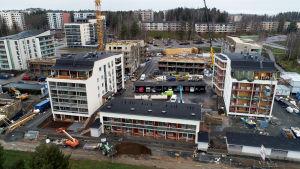 Ilmakuva rakennustyömaasta Tampereella