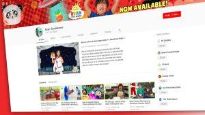 Ruutukaappaus Youtube:n Ryan ToysReview -etusivulta 4. joulukuuta.