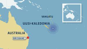 Maanjäristyksen sijainti kartalla.
